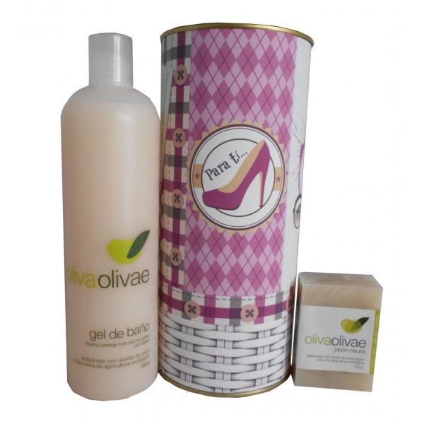 Lote de cosméticos con Gel de baño y Jabón natural en lata