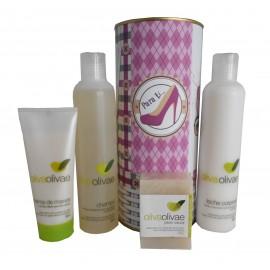 Lote de cosméticos Crema de Manos, Champú, Jabón Natural y Leche Corporal en lata