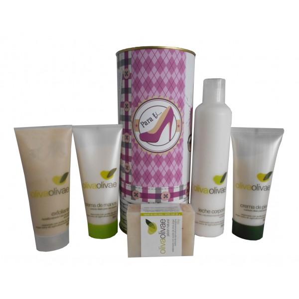 Lote de cosméticos Exfoliante, Crema de Manos, Jabón Natural, Leche Corporal y Crema de Pies