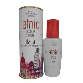 Aceite condimentado que identifica la gastronomía Italia en lata