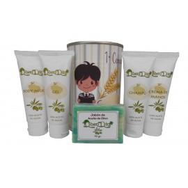 Lata cosméticos con productos de Aceite de Oliva, Gel, champú, Crema de manos, Body Milk y pastilla de jabón