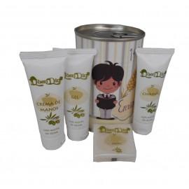 Lata cosmético con gel, champú, crema de manos y pastilla de jabón de Aloe Vera