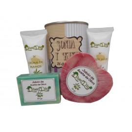 Lata de cosméticos con crema de manos, Body Milk, pastilla de jabón de aceite de Oliva y jabón Karité