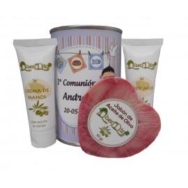 Lata cosméticos con Aceite de Oliva, Crema de manos, Body Milk y Jabón natural de Karité