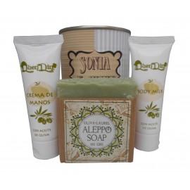 Lata de cosméticos con crema de manos, Body Milk y jabón artesano de Alepo