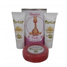 Lata de cosméticos con crema de manos, body Milk y jabón esponja