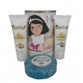 Lata de cosméticos con crema de manos, body Milk y jabón esponja marina