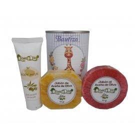 Lata de cosméticos con body Milk, jabón artesano Pomelo y jabón con esponja