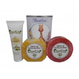 Lata de cosméticos con champú, jabón artesano Pomelo y jabón con esponja