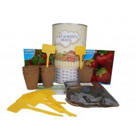 Kit de huerto infantil con semilleros, tierra turba, semillas tomate Cherry, fresones y marcaje de semilleros