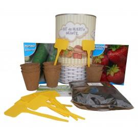 Kit de huerto infantil con semilleros, tierra turba, semillas fresones, semillas pepino y marcaje de semilleros