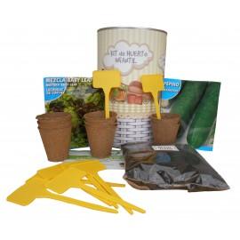 Kit de huerto infantil con semilleros, tierra turba, semillas pepino, semillas lechuga y marcaje de semilleros