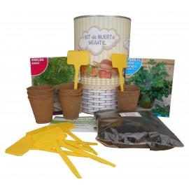 Kit de huerto infantil con semilleros, tierra turba, semillas Perejil, semillas Eneldo y marcaje de semilleros