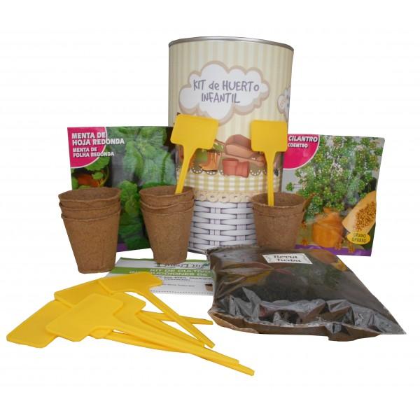 Kit de huerto infantil con semilleros, tierra turba, semillas Menta, Cilantro y marcaje de semilleros