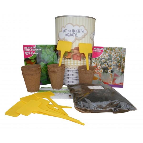 Kit de huerto infantil con semilleros, tierra turba, semillas Menta, semillas Manzanilla y marcaje de semilleros