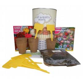 Kit de huerto infantil con semilleros, tierra turba, semillas ramos secos, semillas clavel gigante y marcaje de semilleros