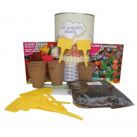 Kit de huerto infantil con semilleros, tierra turba, flores campestres, clavel gigante y marcaje de semilleros