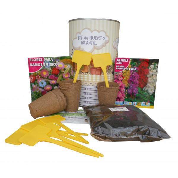 Kit de huerto infantil con semilleros, tierra turba, semillas Alheli, flores para ramos secos, y marcaje de semilleros