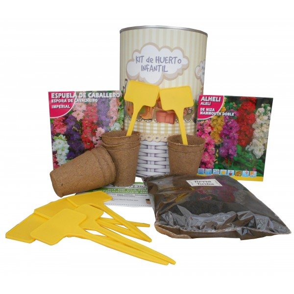 Kit de huerto infantil con semilleros, tierra turba, Alheli, Espuela de Cabellero y marcaje de semilleros