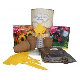Kit de huerto urbano infantil con semilleros, tierra turba, Petunia, Girasol y marcaje de semilleros