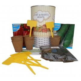Kit de huerto infantil con semilleros, tierra turba, semillas pimiento, semillas pepino y marcaje de semilleros