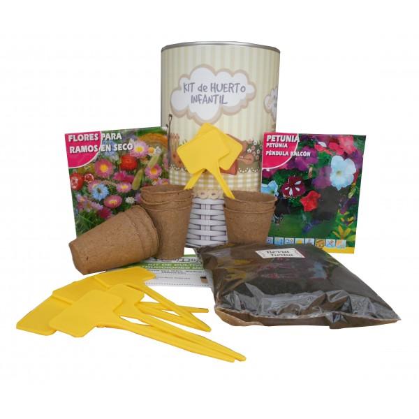 Kit de huerto infantil con semilleros, tierra turba, semillas Petunias, semillas Flores secas y marcaje de semilleros