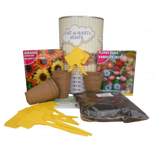 Kit de huerto urbano infantil con semilleros, tierra turba, semillas Flores ramos secos, Girasol y marcaje de semilleros