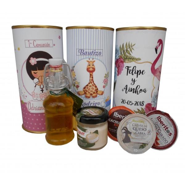 Lata con Aceite de Oliva Virgen extra, paté, queso de cabra y tarrina de jamón curado