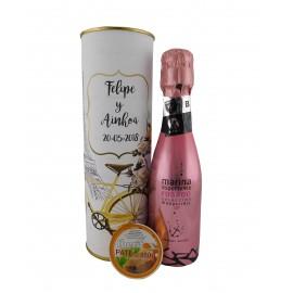 Lata con vino espumoso rosado con tarrina de paté de atún