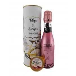 Lata con vino espumoso rosado con crema de chorizo a la sidra