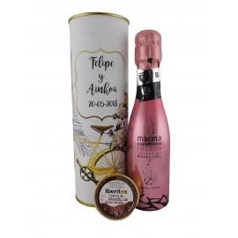 Lata con vino espumoso rosado con crema de morcilla de Santa Amelia