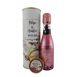 Lata con vino espumoso rosado con crema de salchicón al Jerez