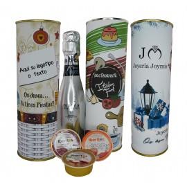 Lata con vino espumoso con Crema de Salchichon al Jerez, Lomo curado y chorizo a la sidra