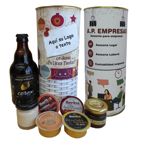 Lote de botella de ceveza artesada, miel, 3 pates y crema de jamón en lata PERSONALIZADA