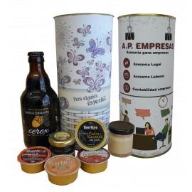 Lote de botella de cerveza artesana con miel, queso de torta, jamon curado y 3 tarrinas de pate en lata PERSONALIZADA