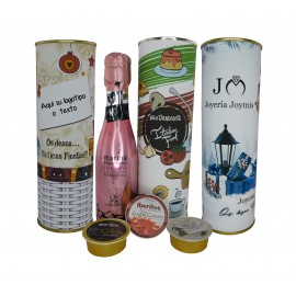 Lote de vino espumoso rosado, pate Pedro Ximenez, queso de cabra y crema de jamon con lata PERSONALIZADA