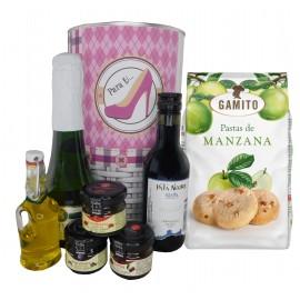 Lote de regalo con cava, vino tinto crianza, mermeladas, Aceite Virgen Extra y bolsa de pastas de manzana