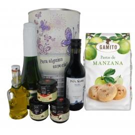 Lote de regalo diseño mariposas con cava, vino tinto crianza, mermeladas, Aceite Virgen Extra y bolsa de pastas de manzana
