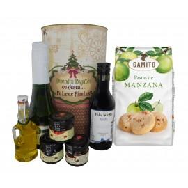 Lote de regalo Navideño con cava, vino tinto crianza, mermeladas, Aceite Virgen Extra y bolsa de pastas de manzana