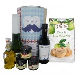 Lote de regalo Mostacho con cava, vino tinto crianza, mermeladas, Aceite Virgen Extra y bolsa de pastas de manzana
