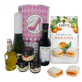 Lote Gourmet con cava, vino tinto Crianza, Aceite Virgen extra, mermeladas y cortaditos de naranja en lata PERSONALIZADA