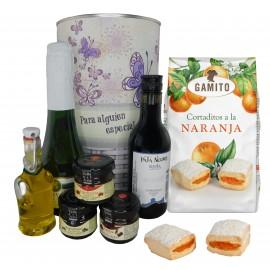 Lote Gourmet con cava, vino tinto Crianza, Aceite Virgen extra, mermeladas y cortaditos de naranja en lata mariposas