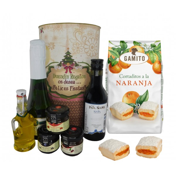 Lote Gourmet con cava, vino tinto Crianza, Aceite Virgen extra, mermeladas y cortaditos de naranja en lata Navideña