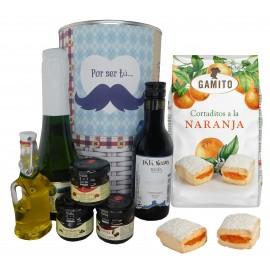 Lote Gourmet con cava, vino tinto Crianza, Aceite Virgen extra, mermeladas y cortaditos de naranja en lata Mostacho