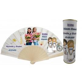 Abanico varillas de madera PERSONALIZADO con foto y texto de Comunion dos niñas en lata