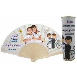 Abanico varillas de madera PERSONALIZADO con foto y texto de Comunion niños en lata