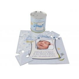 Recordatorio Bautizo niño puzzle con foto y texto en lata personalizada