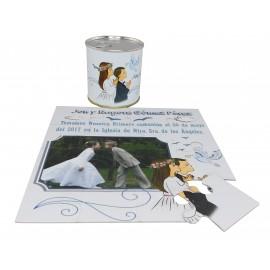 Recordatorio de Comunión niño y niña en puzzle con lata personalizada