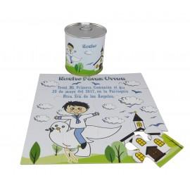 Recordatorio de Comunión niño con paloma en puzzle con lata personalizada
