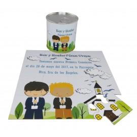 Recordatorio de Comunion niños en puzzle con lata personalizada